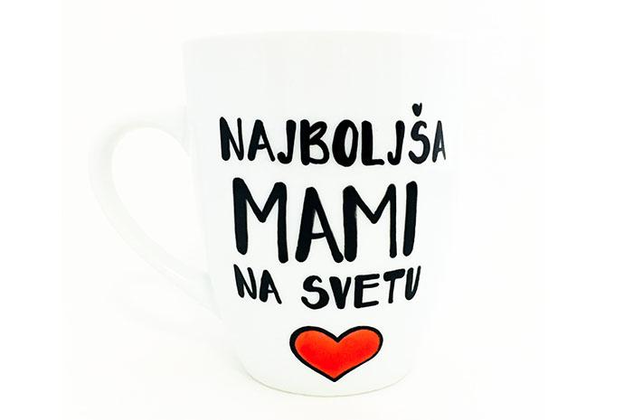 mami, skodelica, ročna poslikava, darilo